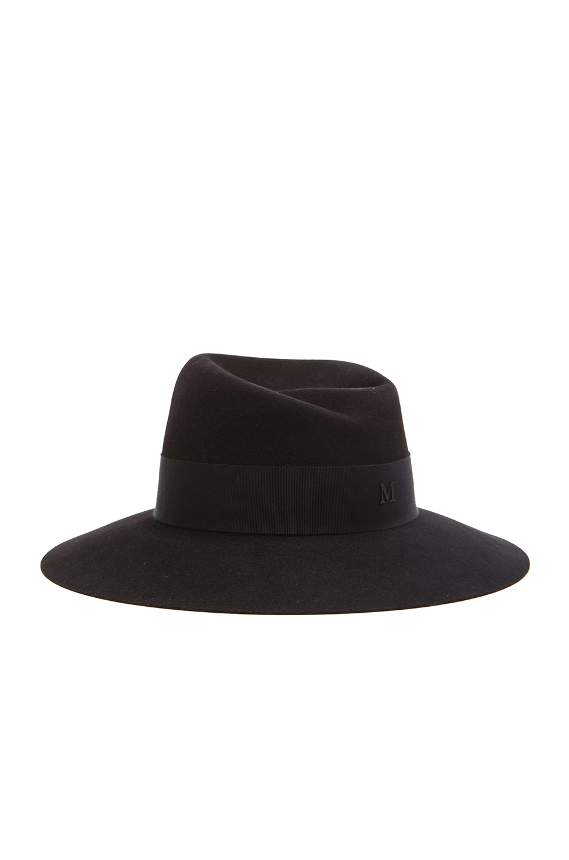 Image 1 of Maison Michel Virginie Large Brim Hat in Black