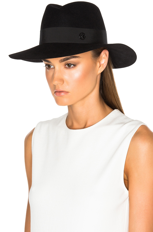 Image 2 of Maison Michel Virginie Large Brim Hat in Black