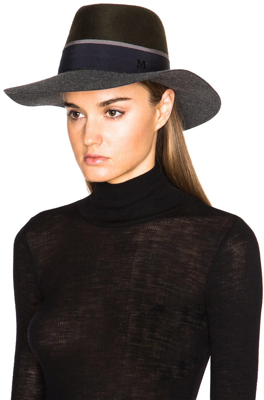 Image 2 of Maison Michel Double Rabbit Felt Charles Hat in Grey & Khaki