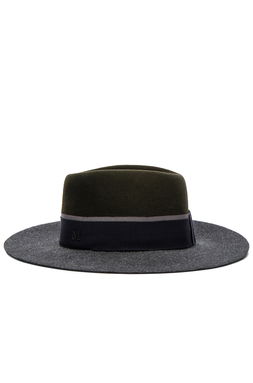 Image 4 of Maison Michel Double Rabbit Felt Charles Hat in Grey & Khaki
