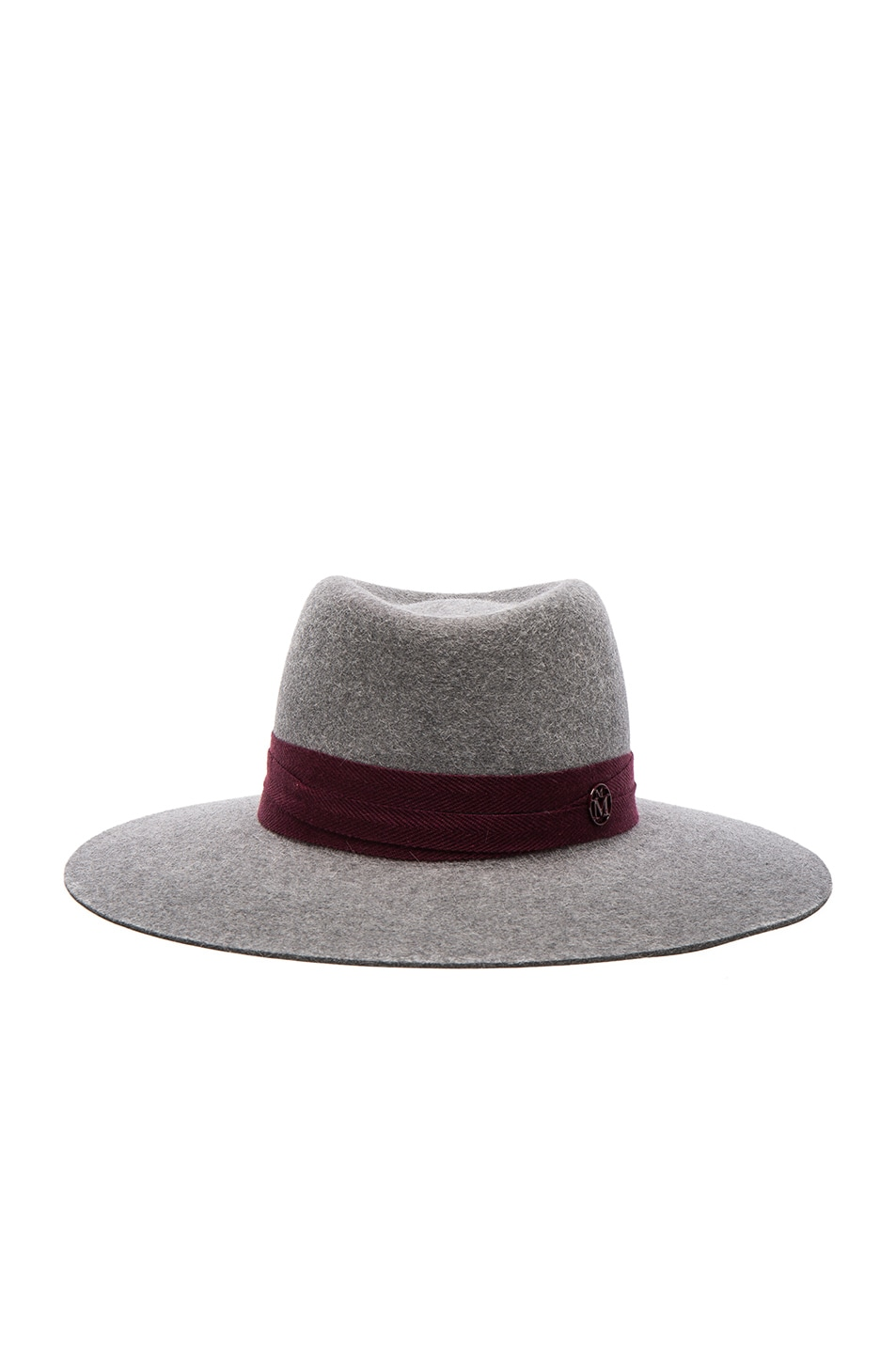 Image 1 of Maison Michel Charles Hat in Grey & Bordeaux