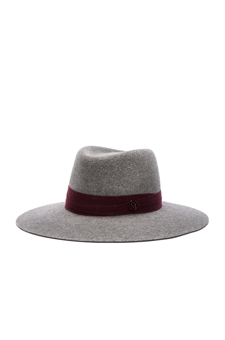 Image 2 of Maison Michel Charles Hat in Grey & Bordeaux