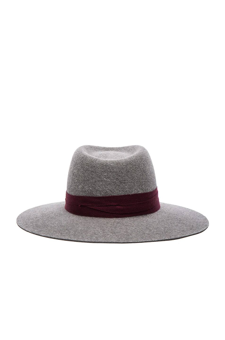 Image 4 of Maison Michel Charles Hat in Grey & Bordeaux