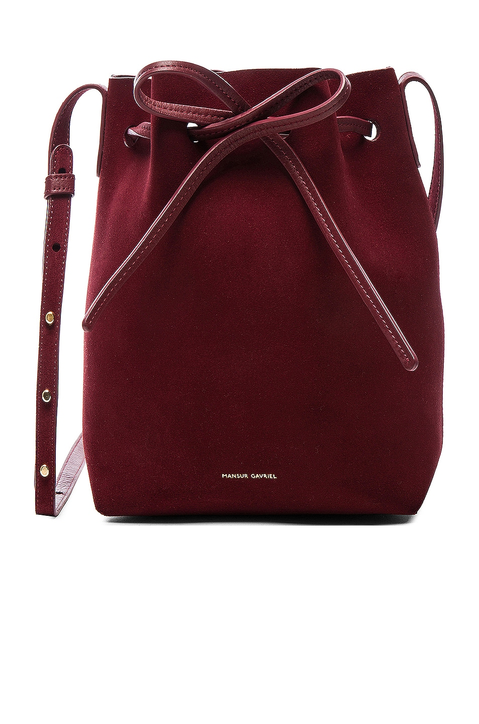 Image 1 of Mansur Gavriel Mini Bucket Bag in Rococo Suede