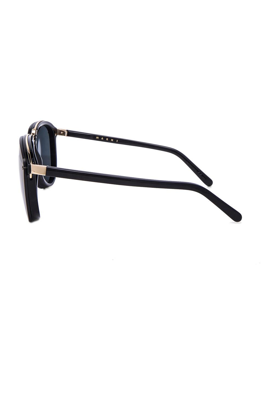 Image 3 of Marni Acetate & Metal Sunglasses in Black