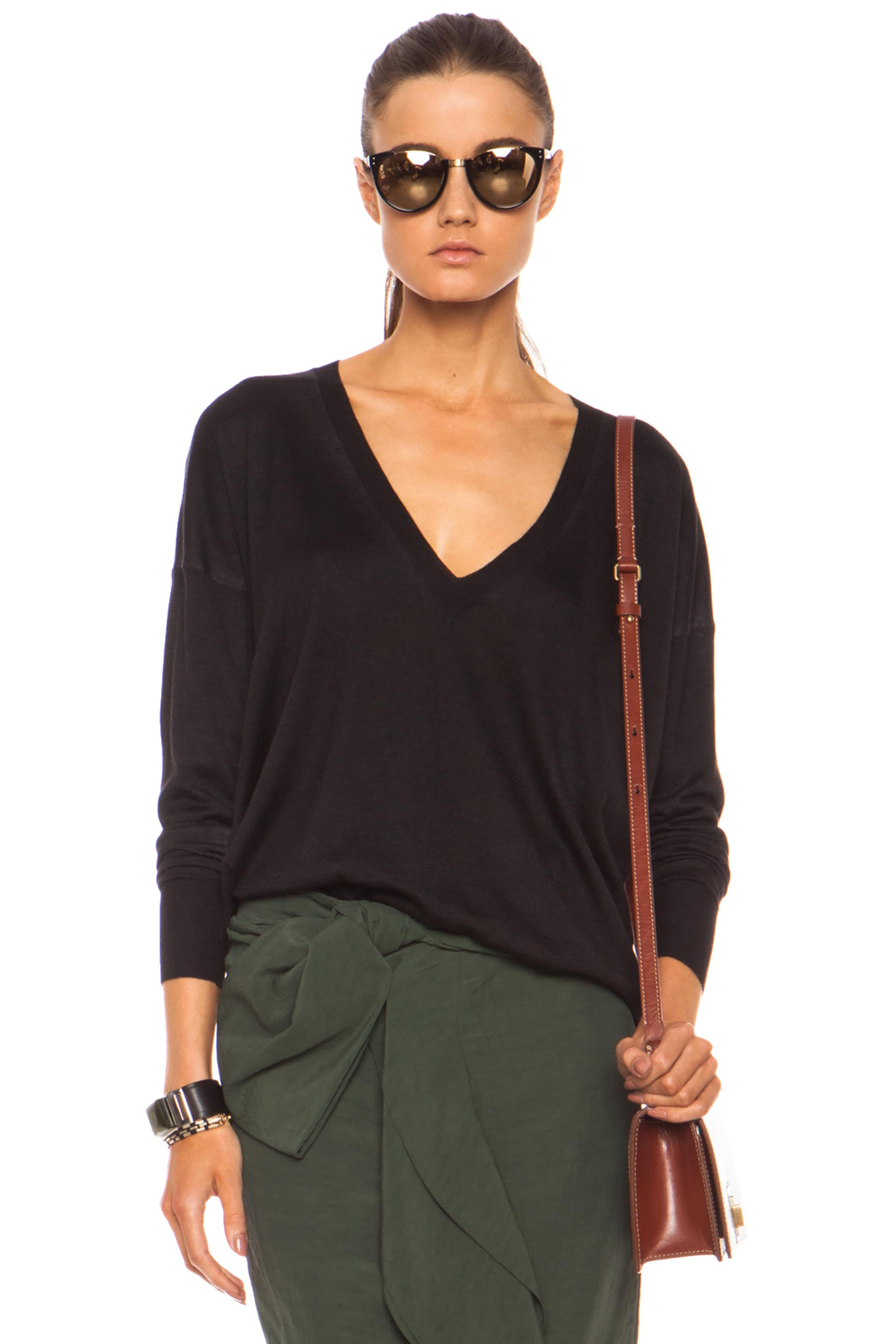 Image 1 of Marni Washed V Neck Cashmere-Blend Sweater in Carbone