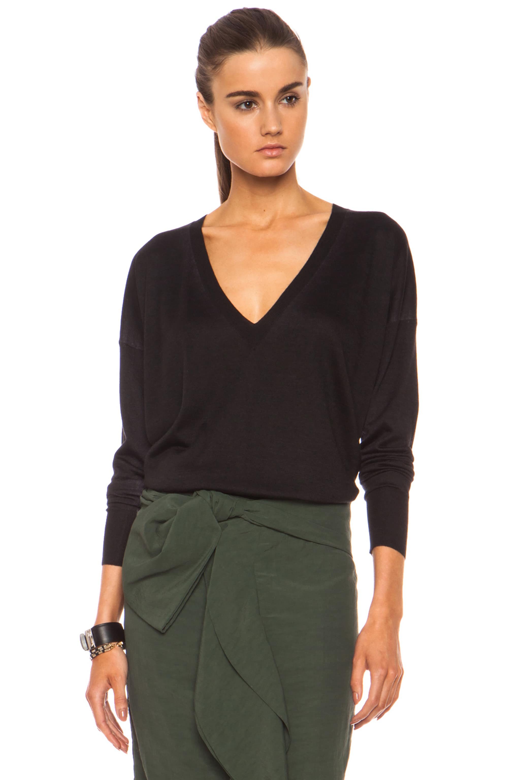 Image 2 of Marni Washed V Neck Cashmere-Blend Sweater in Carbone