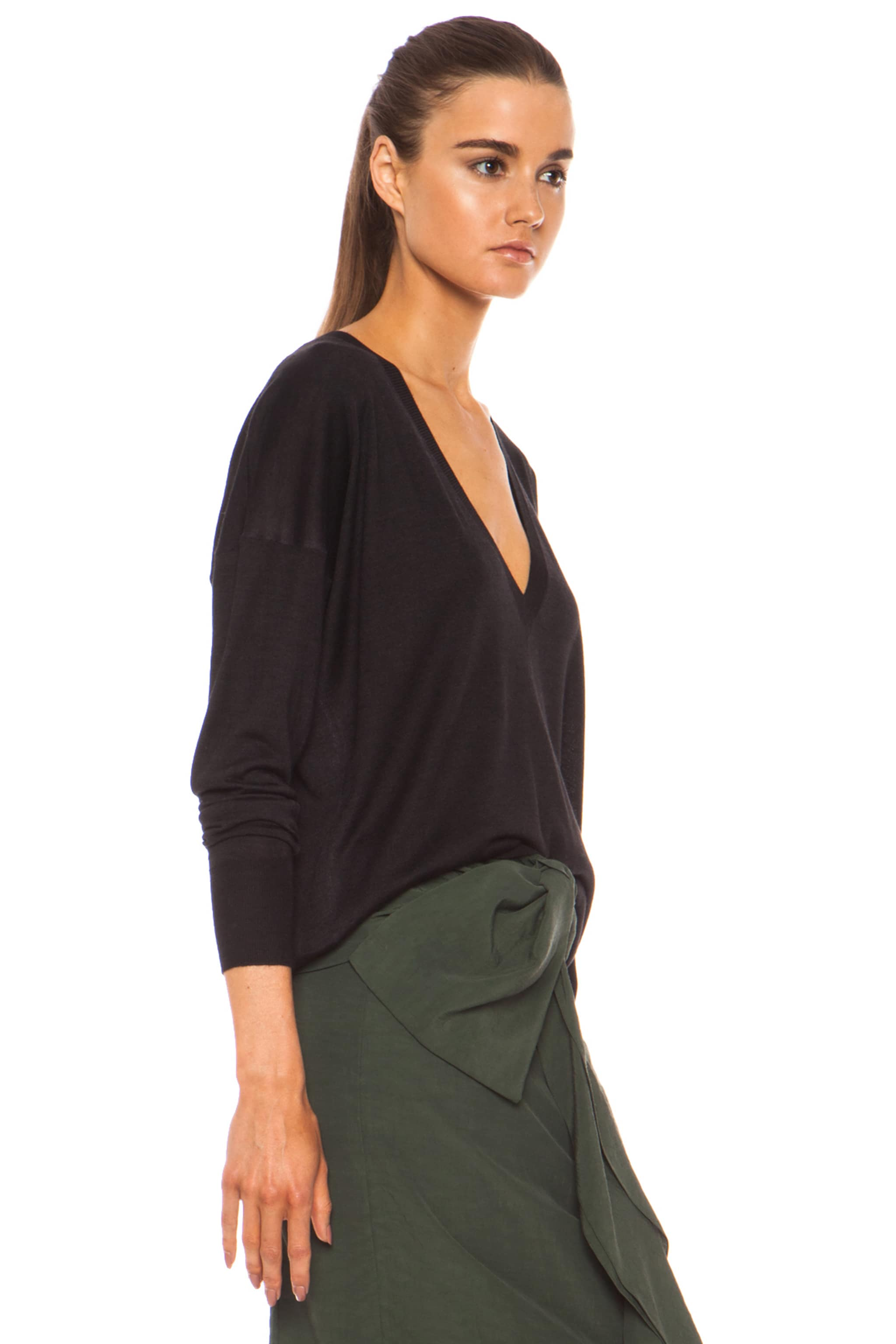 Image 3 of Marni Washed V Neck Cashmere-Blend Sweater in Carbone