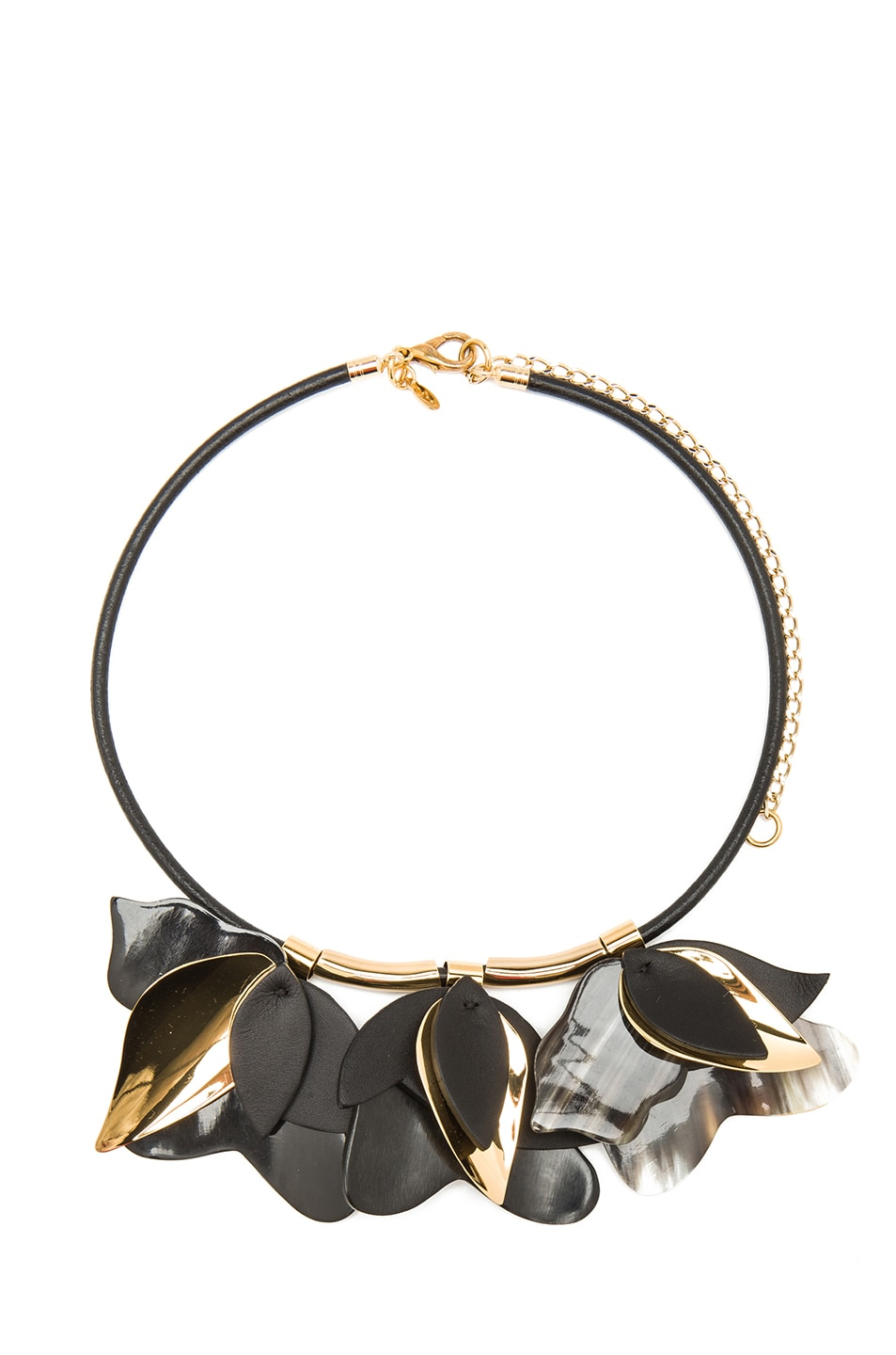 Image 1 of Marni Rose Leaher & Metal Necklace in Black & Gold