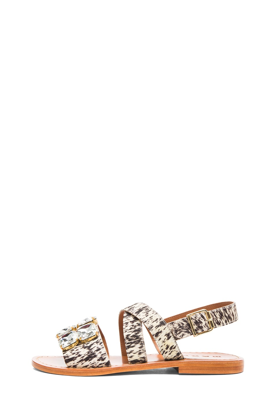 Image 1 of Marni Calf Hair Embellished Sandals with Large Stones in Leopard