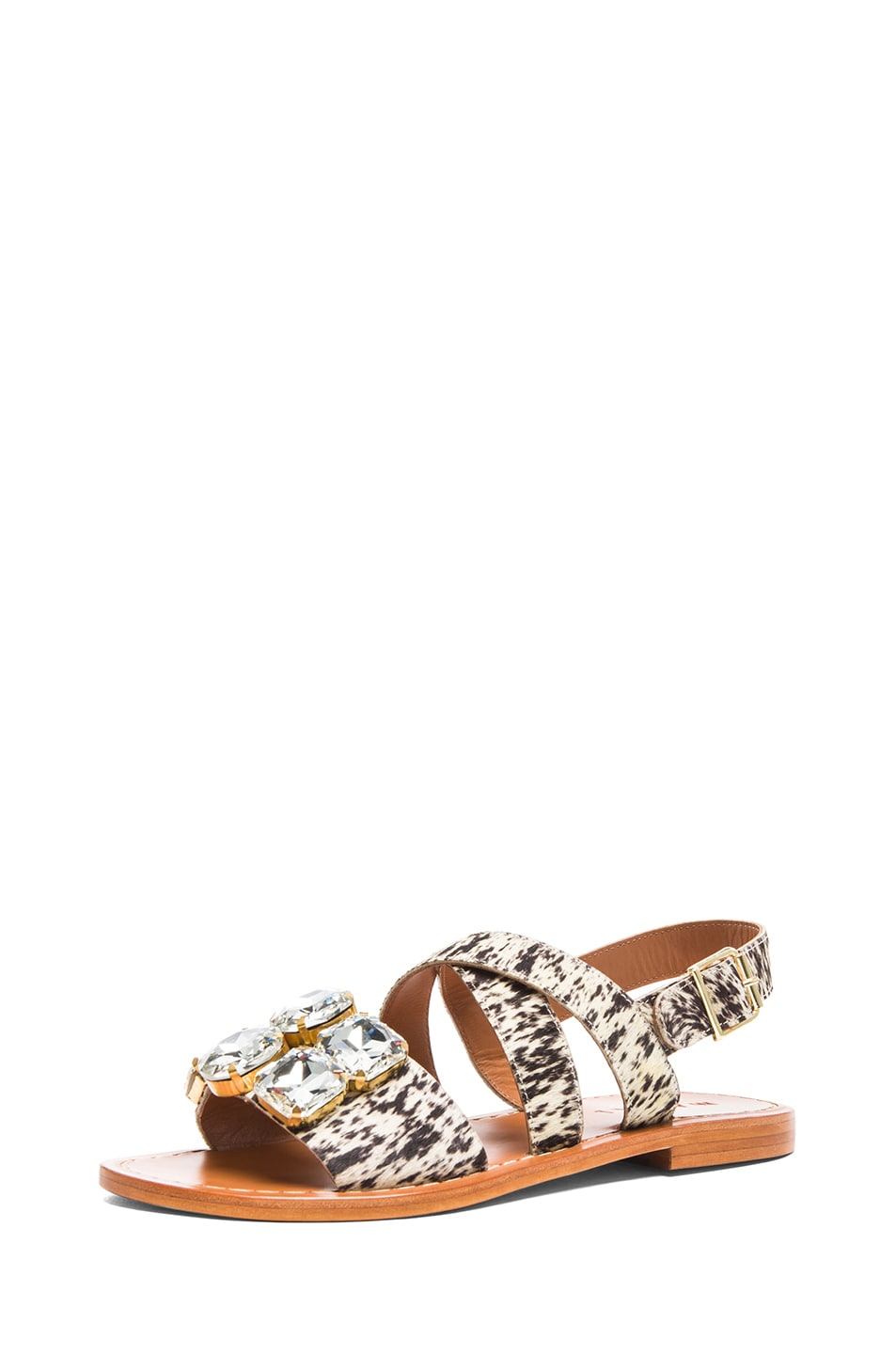 Image 2 of Marni Calf Hair Embellished Sandals with Large Stones in Leopard