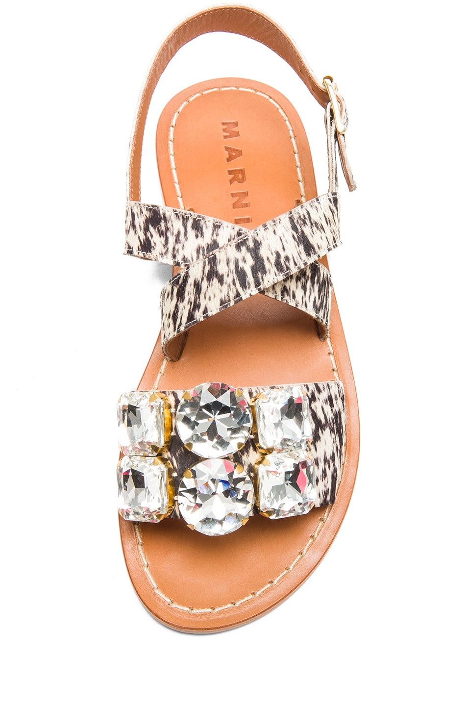 Image 4 of Marni Calf Hair Embellished Sandals with Large Stones in Leopard