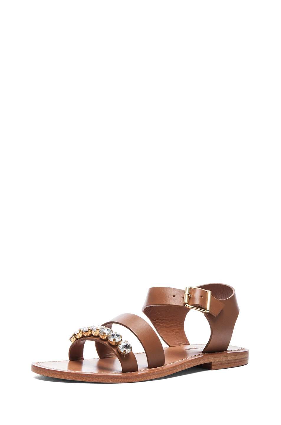 Image 2 of Marni Embellished Leather Sandals with Small Stones in Caramel