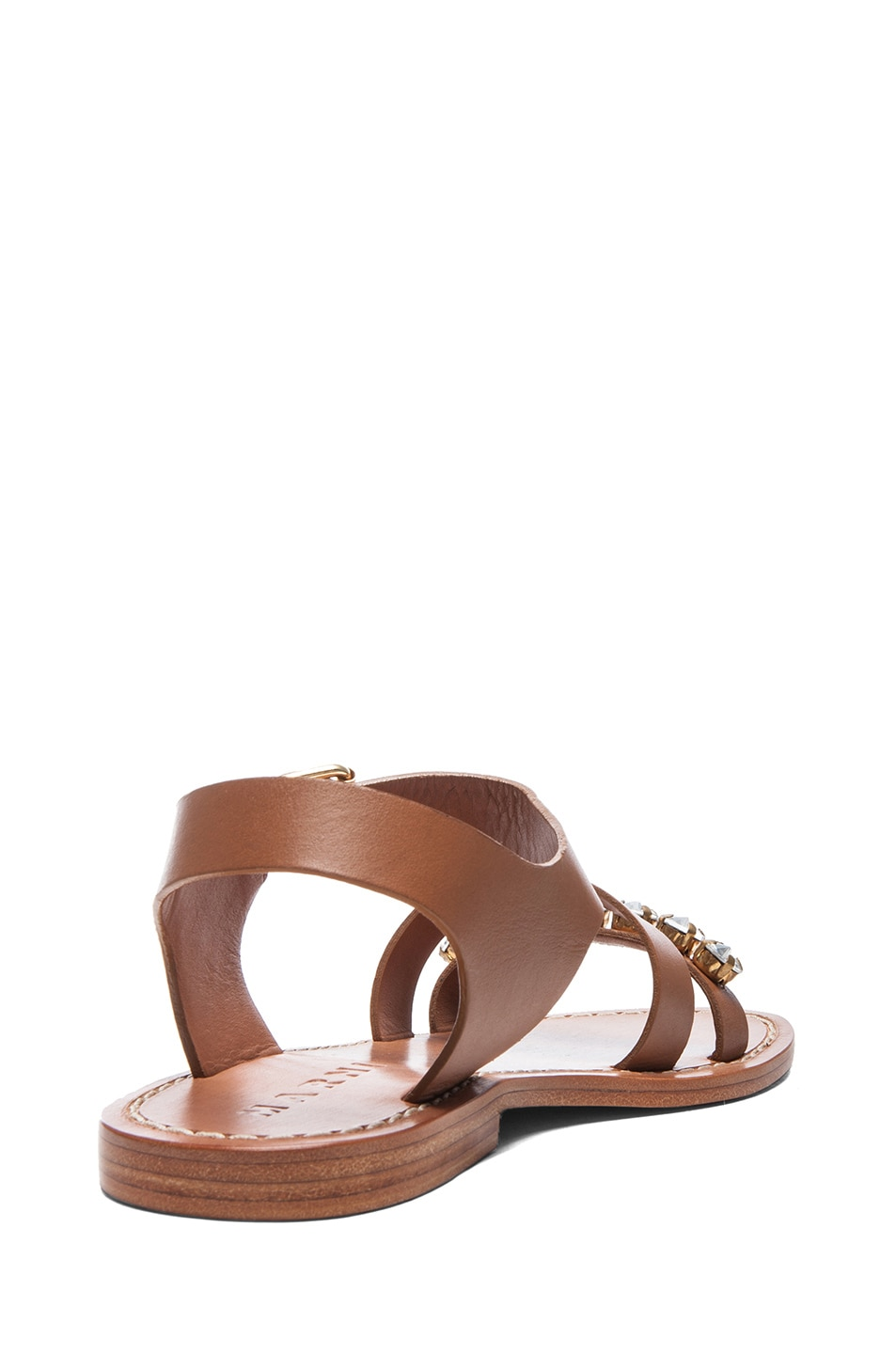 Image 3 of Marni Embellished Leather Sandals with Small Stones in Caramel