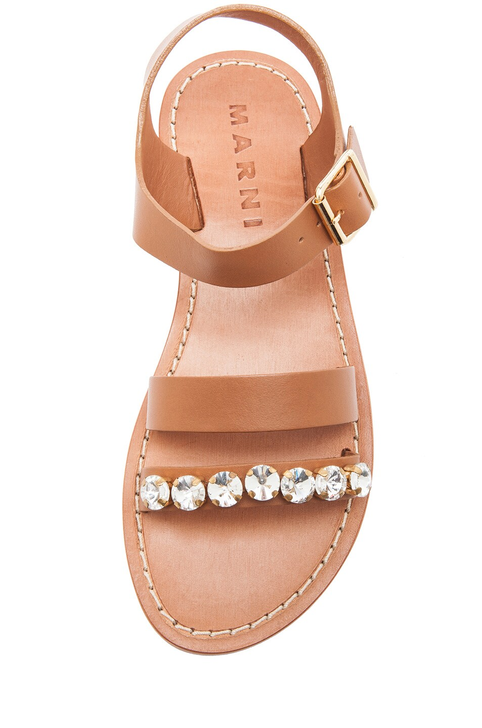 Image 4 of Marni Embellished Leather Sandals with Small Stones in Caramel