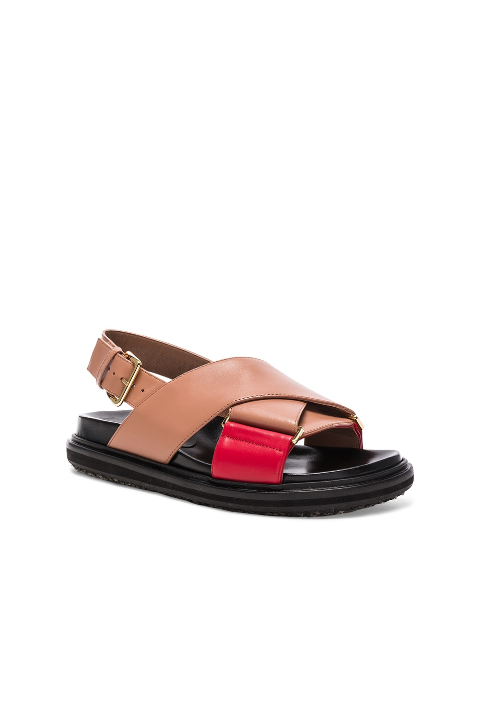 Image 2 of Marni Leather Fussbett Sandals in Cameo & Indian Red