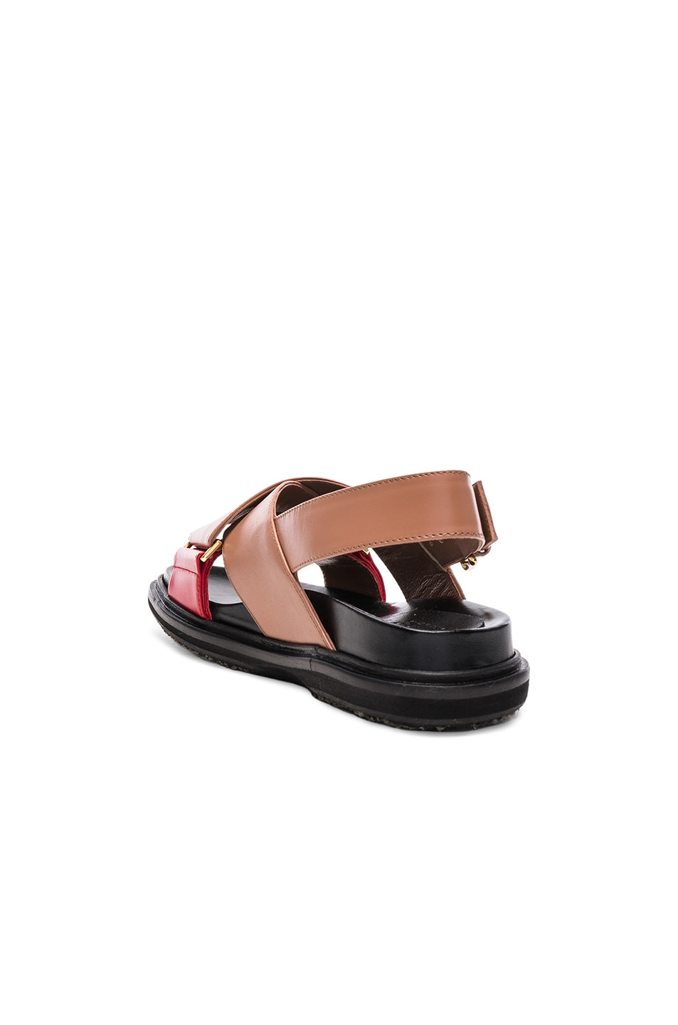 Image 3 of Marni Leather Fussbett Sandals in Cameo & Indian Red