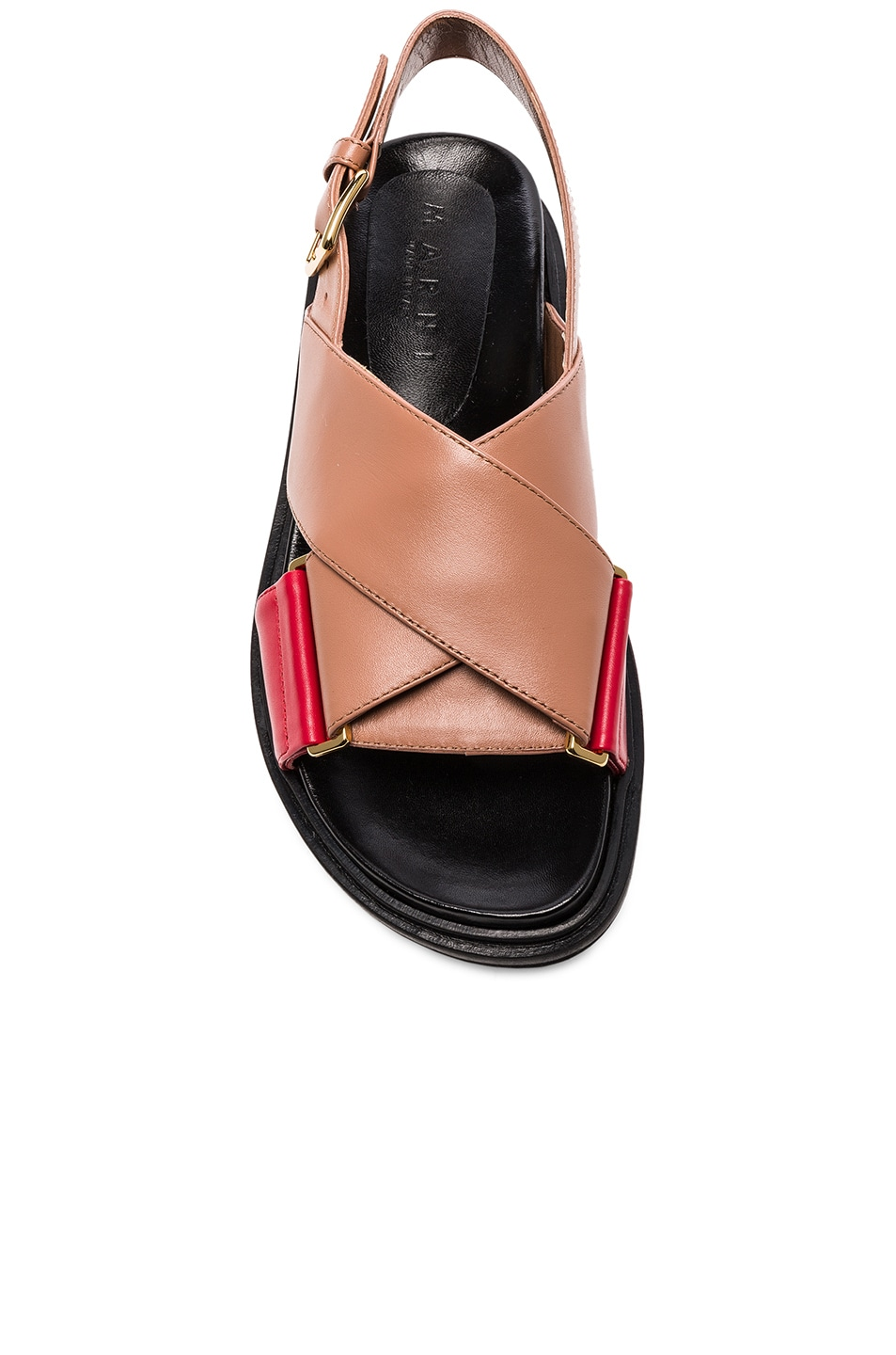 Image 4 of Marni Leather Fussbett Sandals in Cameo & Indian Red