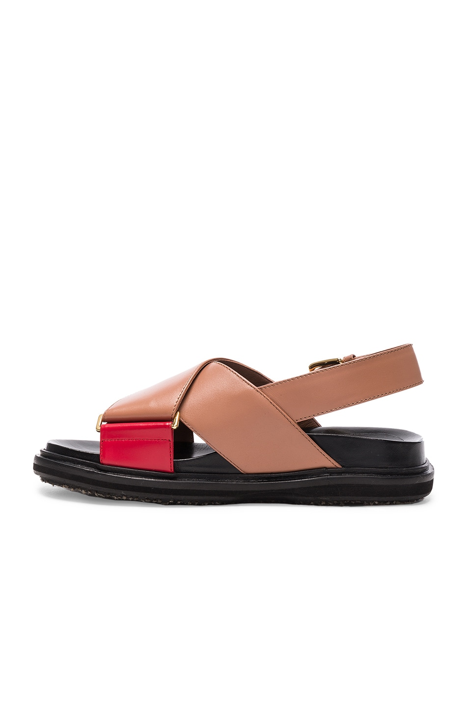 Image 5 of Marni Leather Fussbett Sandals in Cameo & Indian Red