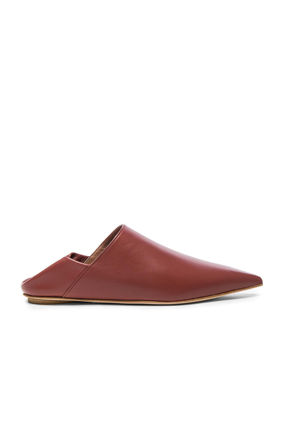 Image 1 of Marni Leather Sabot Mules in Saddle Brown