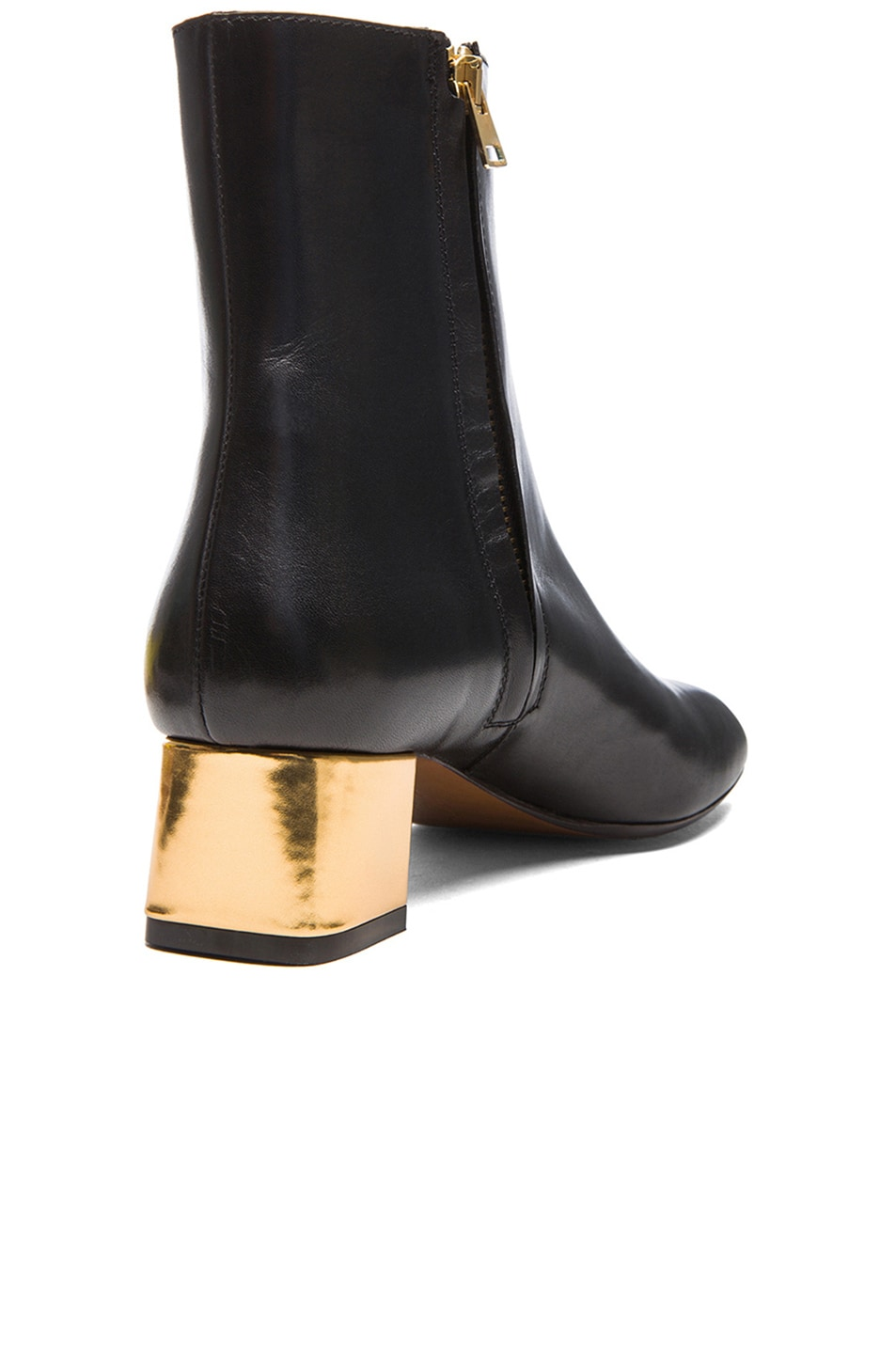 Image 3 of Marni Calfskin Leather Ankle Booties in Coal