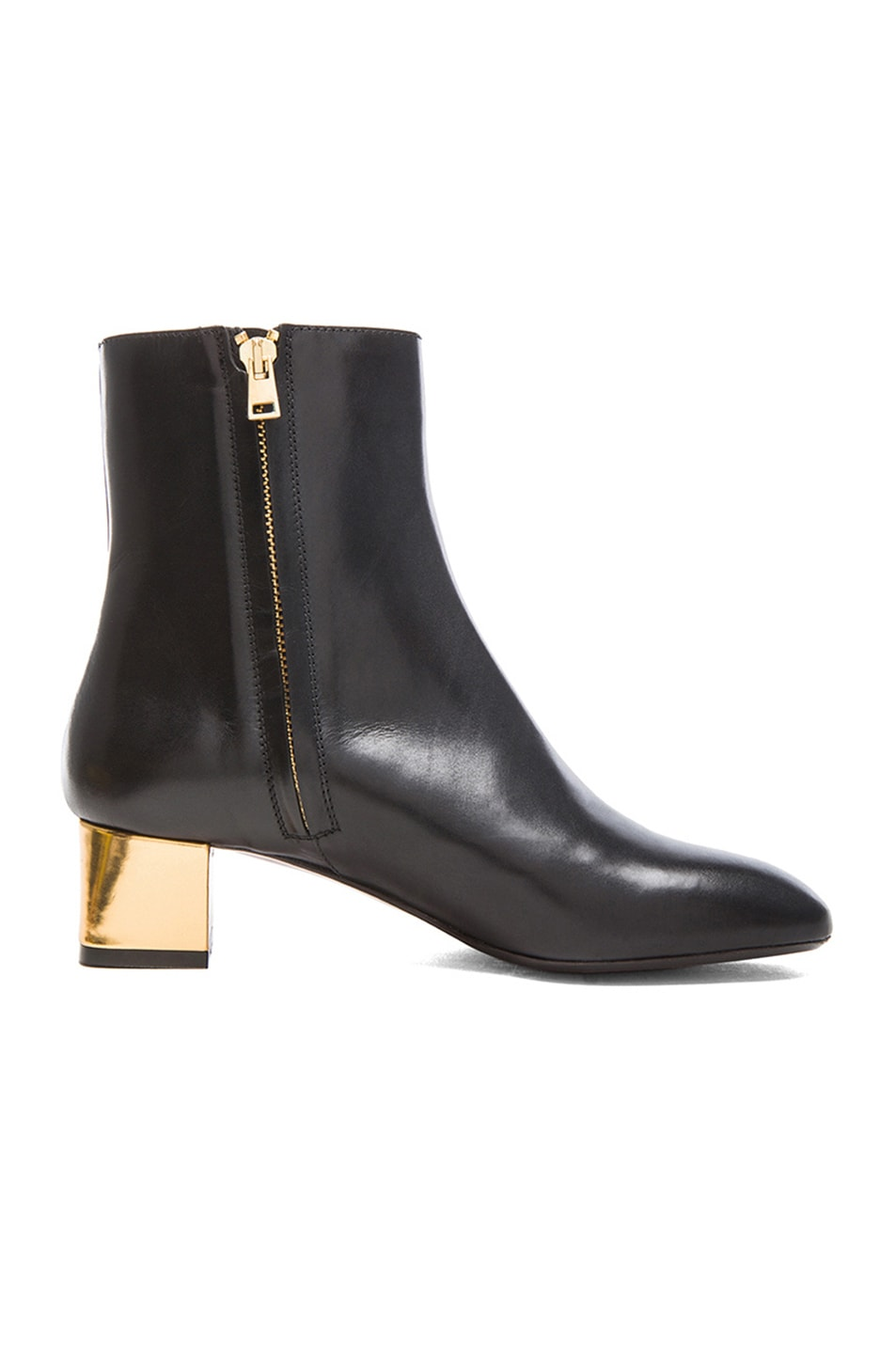 Image 5 of Marni Calfskin Leather Ankle Booties in Coal
