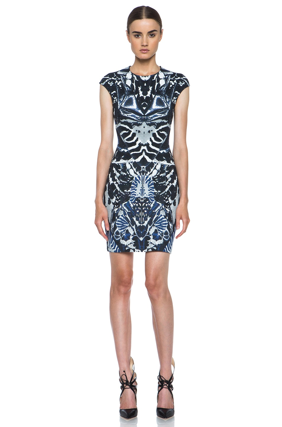 Image 1 of McQ Alexander McQueen Interlock Kaleidoscope Print Dress in Indigo & Black