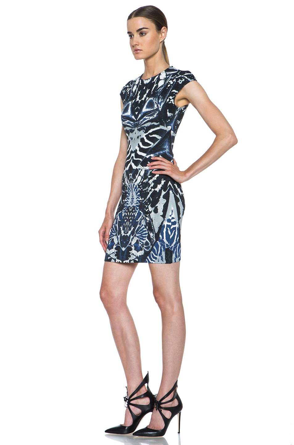 Image 2 of McQ Alexander McQueen Interlock Kaleidoscope Print Dress in Indigo & Black