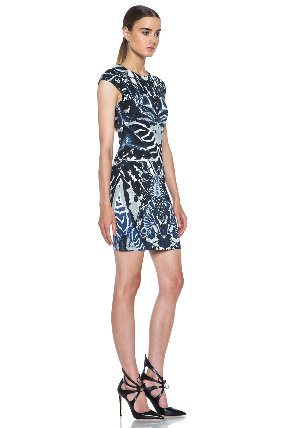 Image 3 of McQ Alexander McQueen Interlock Kaleidoscope Print Dress in Indigo & Black