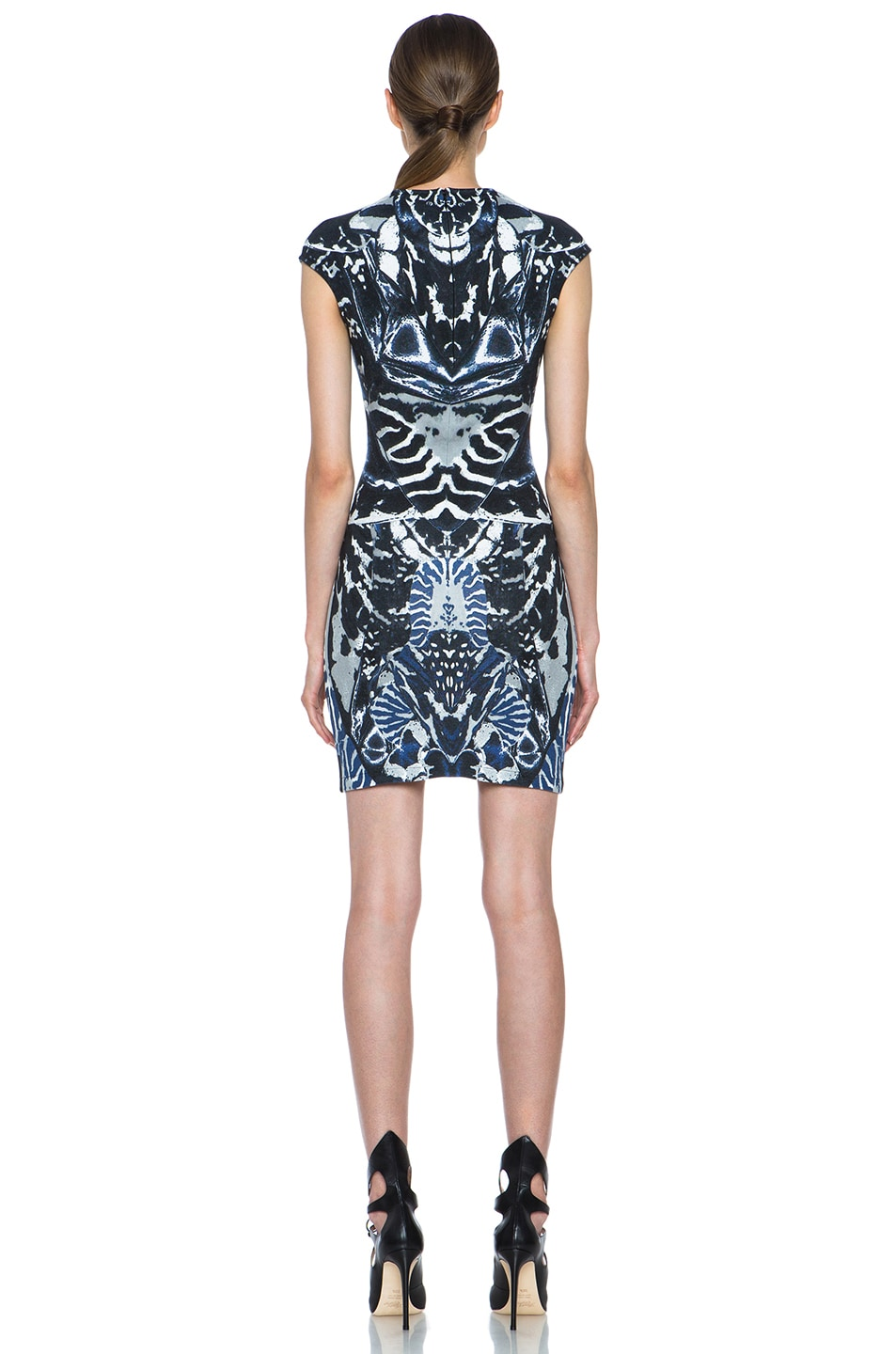 Image 4 of McQ Alexander McQueen Interlock Kaleidoscope Print Dress in Indigo & Black