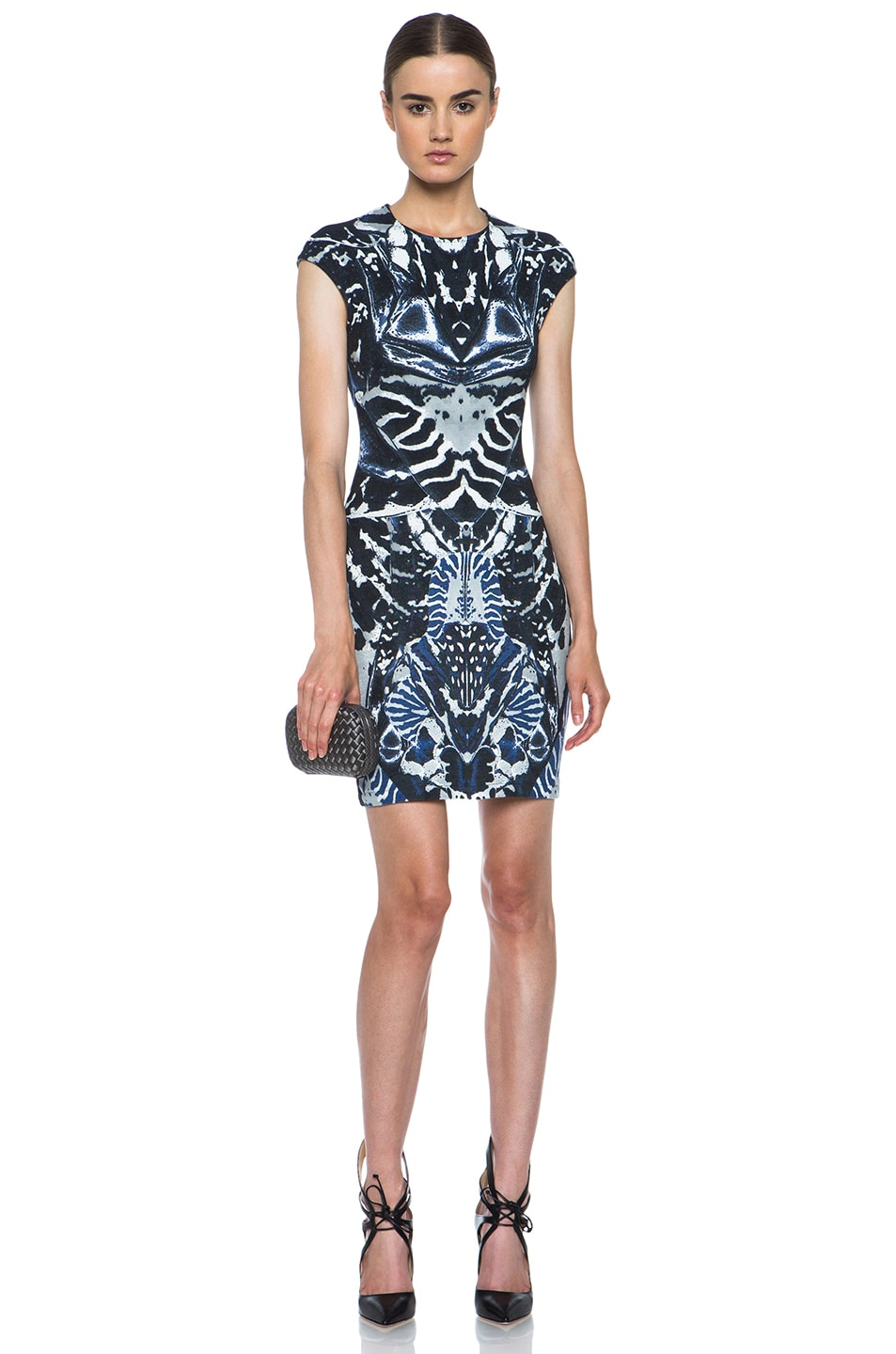 Image 5 of McQ Alexander McQueen Interlock Kaleidoscope Print Dress in Indigo & Black