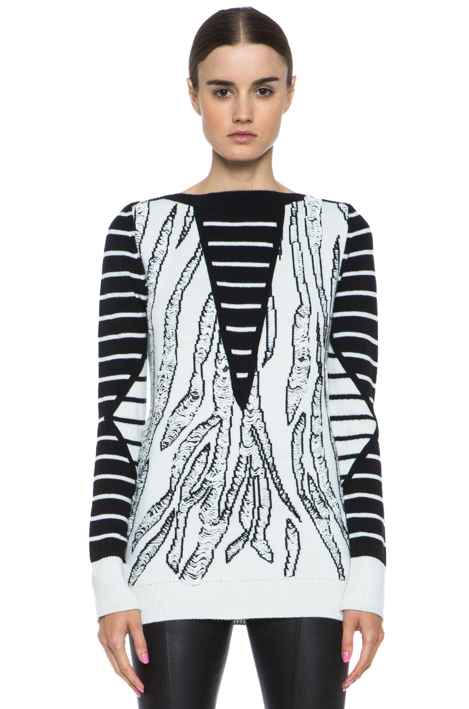 Image 1 of McQ Alexander McQueen Tiger Jacquard Float Stitch Sweater in Cream & Black