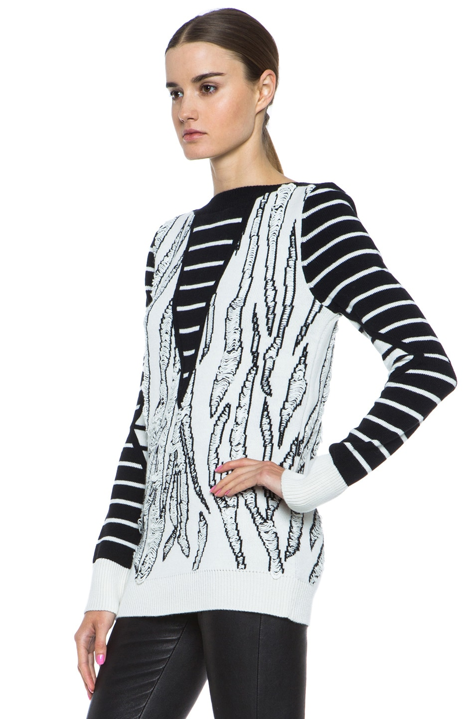Image 2 of McQ Alexander McQueen Tiger Jacquard Float Stitch Sweater in Cream & Black