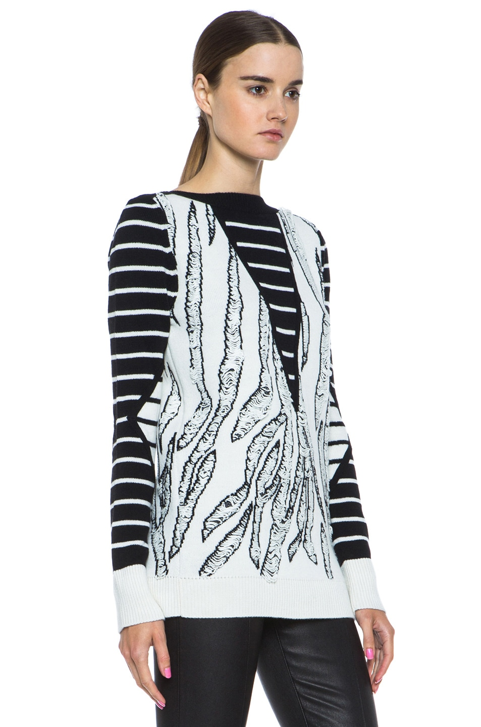 Image 3 of McQ Alexander McQueen Tiger Jacquard Float Stitch Sweater in Cream & Black