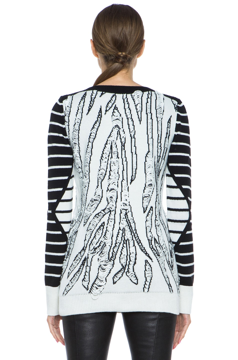 Image 4 of McQ Alexander McQueen Tiger Jacquard Float Stitch Sweater in Cream & Black
