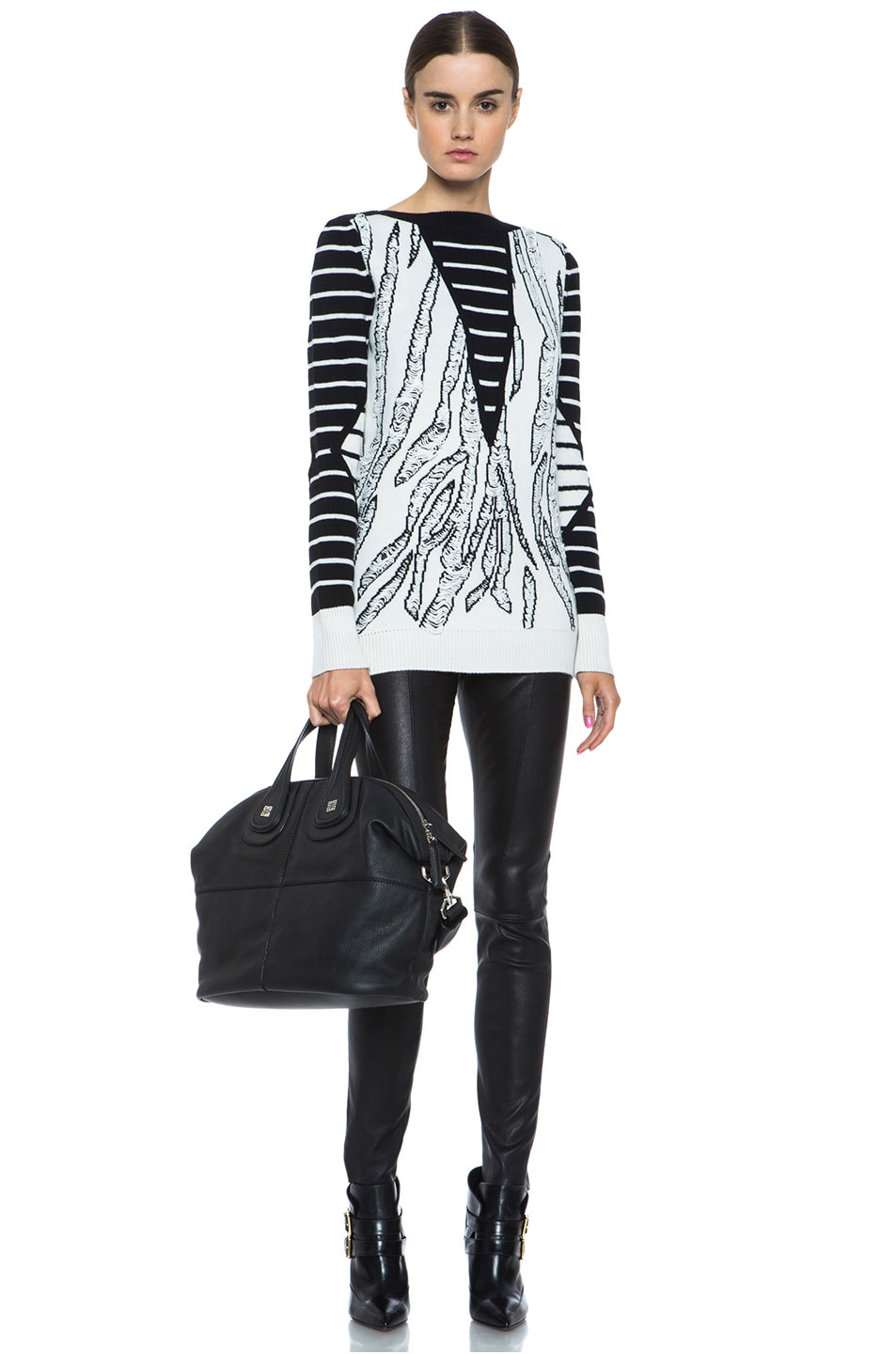 Image 5 of McQ Alexander McQueen Tiger Jacquard Float Stitch Sweater in Cream & Black