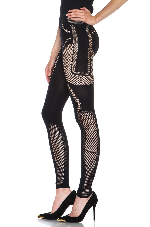 Image 2 of McQ Alexander McQueen Mesh Polyamide-Blend Legging in Black
