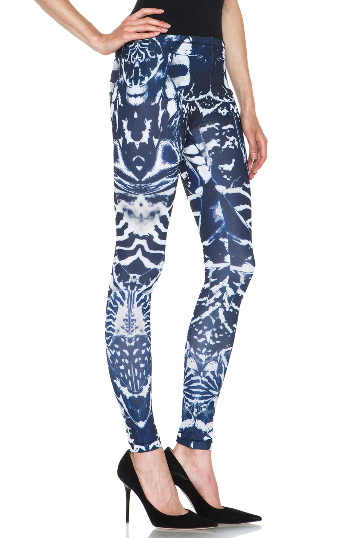 Image 3 of McQ Alexander McQueen Kaleidoscope Poly-Blend Leggings in Indigo & Black