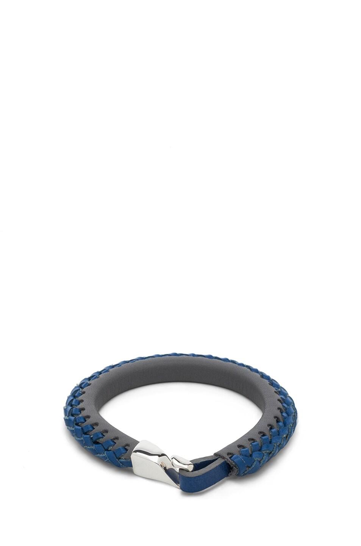 Image 1 of Miansai Laxey Calfskin Leather Bracelet in Grey & Blue