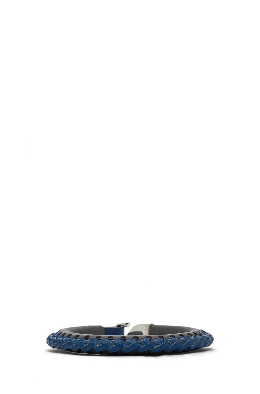 Image 4 of Miansai Laxey Calfskin Leather Bracelet in Grey & Blue