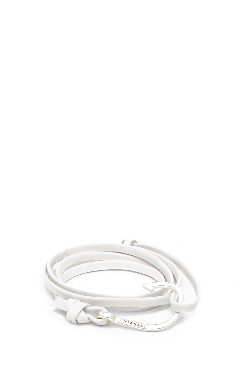 Image 1 of Miansai Hooked Leather Bracelet in White & Silver