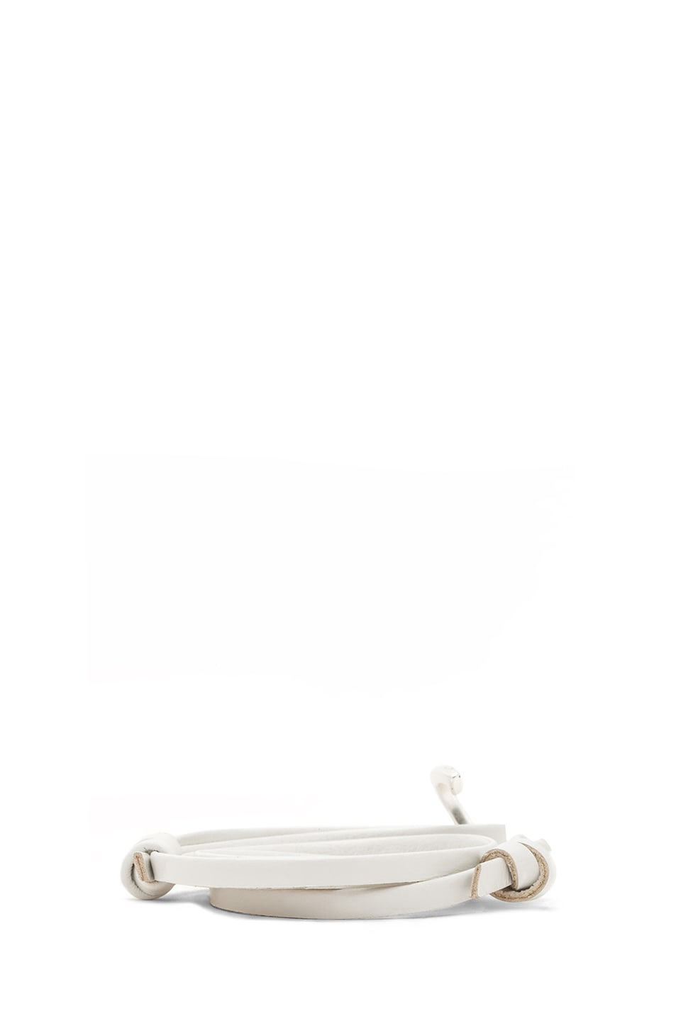 Image 3 of Miansai Hooked Leather Bracelet in White & Silver