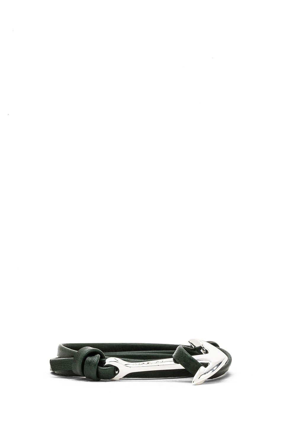 Image 2 of Miansai Anchor Leather Bracelet in Hunter & Silver