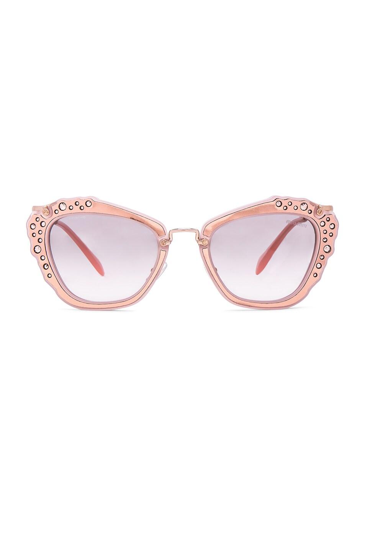 Image 1 of Miu Miu Embellished Cat Eye Sunglasses in Matte Pink