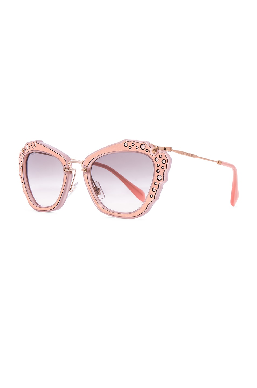 Image 2 of Miu Miu Embellished Cat Eye Sunglasses in Matte Pink