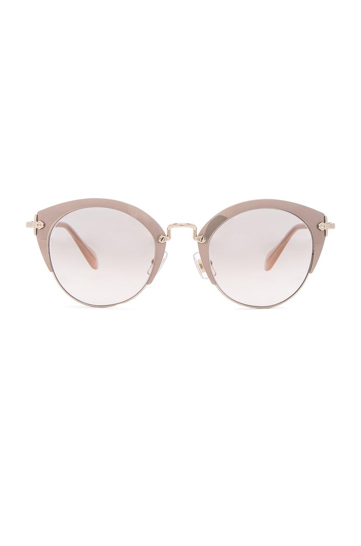 Image 1 of Miu Miu Round Cat Eye Sunglasses in Mirror Pink & Pale Gold