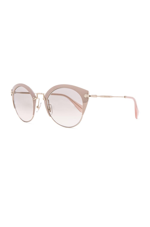 Image 2 of Miu Miu Round Cat Eye Sunglasses in Mirror Pink & Pale Gold