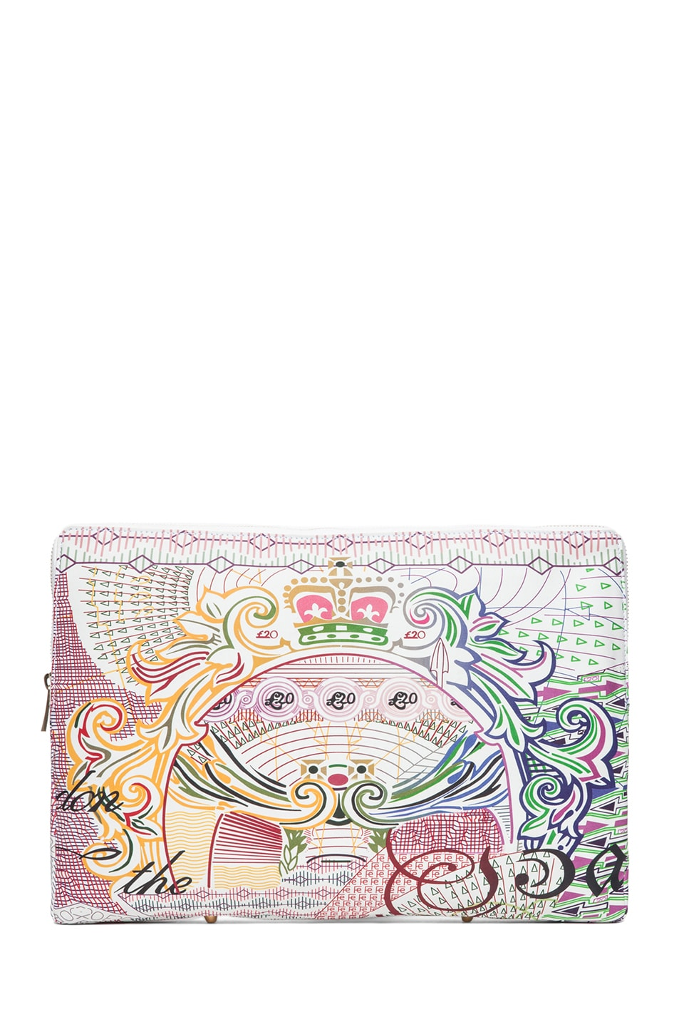 Image 1 of Mary Katrantzou Large Leather Clutch in Pound