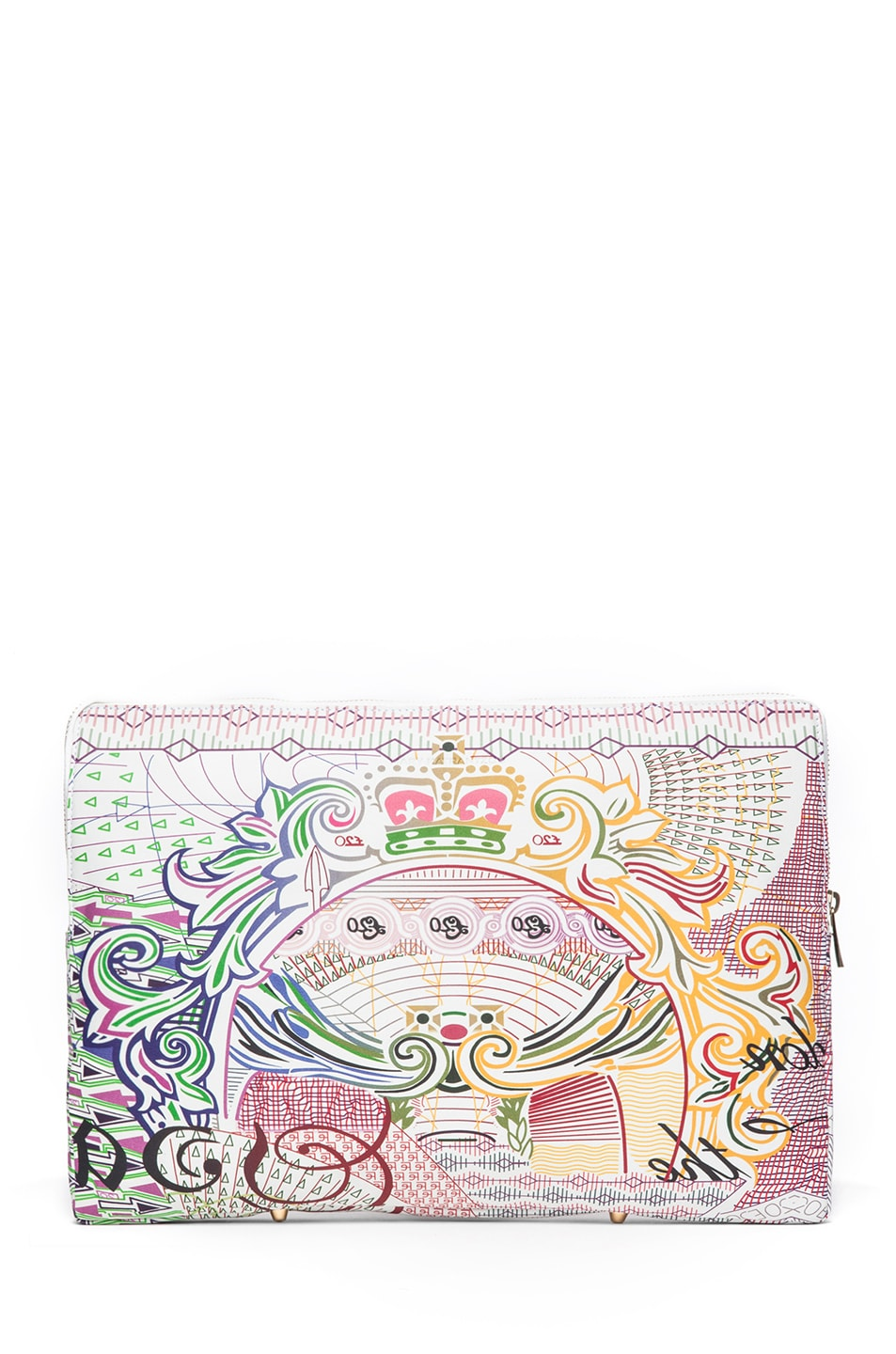 Image 2 of Mary Katrantzou Large Leather Clutch in Pound