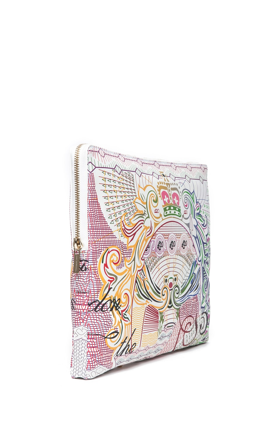 Image 3 of Mary Katrantzou Large Leather Clutch in Pound